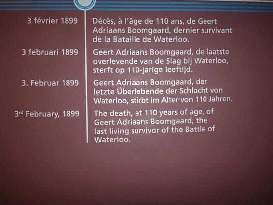 Waterloo Battlefield: Ciekawostka. 3 lutego 1899, w wieku 110 lat zmarł ostatni uczestnik bitwy