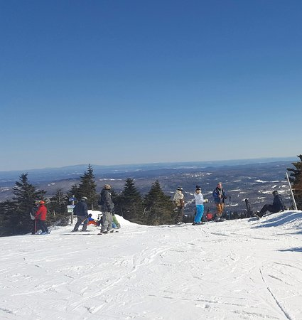 Dover, VT: Top of mountain after riding the awesome BLUE BUBBLE 6 pack lift