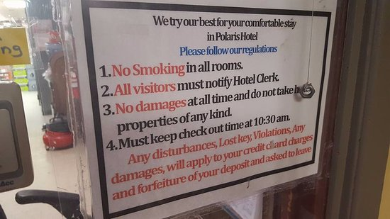 Sign At The Front Desk Picture Of Hotel Polaris Nome