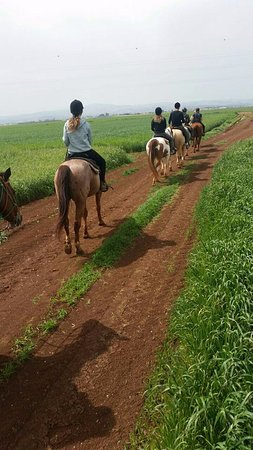 "Kfar Yehezkel, Israël : וזמן ברכיבה תמונה שצולמה בנייד שלנו ע""י המדריכה החביבה"