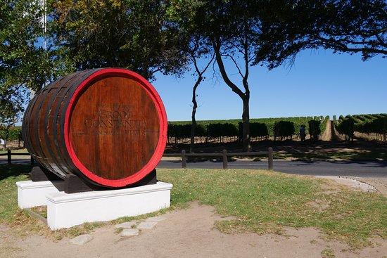 Constantia, Güney Afrika: ワイナリーの名前を記した大きな樽