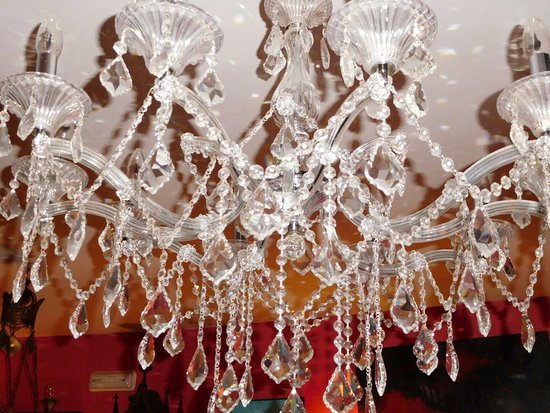 Alarcon, Spain: One of the Chandeliers, only lit by my flash.