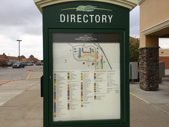 Birch Run Outlet Map Store map and directory.   Picture of Birch Run Premium Outlets