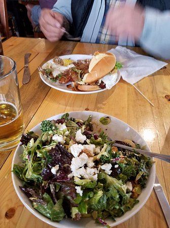 Columbia Falls, MT: Power Greens Salad, Pilgrim Blonde Ale, and yummy burger!