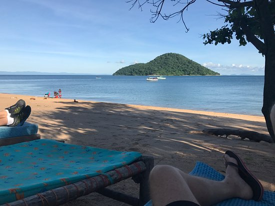 Cape Maclear, Malawi: Cool morning lounge on the fringe of the beach