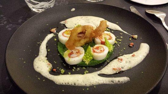 Restaurant La Balette: Diner : Encornets et chorizo, brocolis et choux romesco
