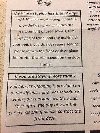Folsom, Καλιφόρνια: Housekeeping Rules Read Carefully