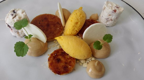 Heemstede, The Netherlands: dessert with mango and cocos creme brulee etc