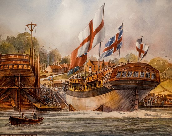 Beaulieu, UK: Painting of one of the ships being launched from the yard.