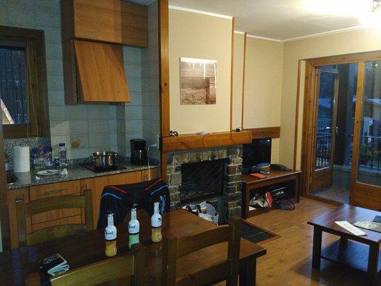 Hotel Anyos Park : Kitchenette a droite ,salon a gauche ,tv ,wifi gratuit