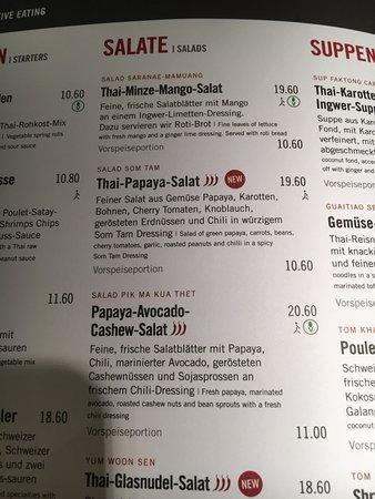 Wallisellen, Ελβετία: Speisekarte und Thai Papaya Salat