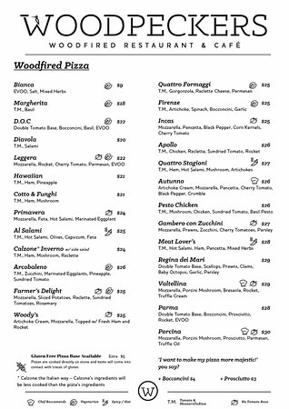 Woodpeckers: Diner Pizza Menu