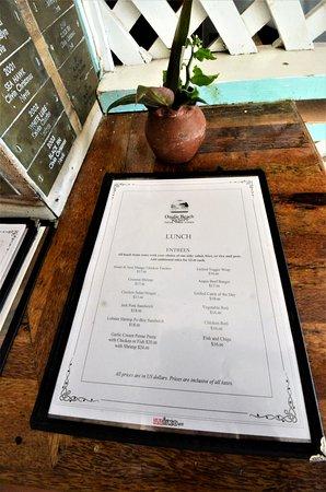 New Castle, Nevis: Lunch time menu