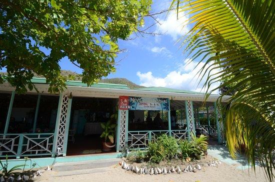 New Castle, Nevis: Oualie Beach Restaurant terrace from the beach