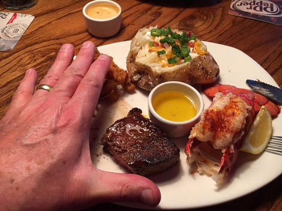 "Nampa, ID: Ridiculous portions. Steak was 2X3"" Lobster was 3X1.5"" $22.00"