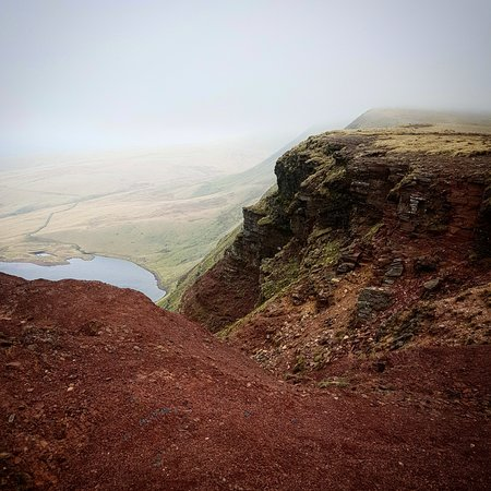 Brecon Beacons National Park, UK: Photo of Llyn y Fan Fach from the top of the mountain (which you don't have to climb!)