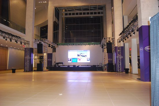 Cobo Center: Stage in front of glass wall to river.