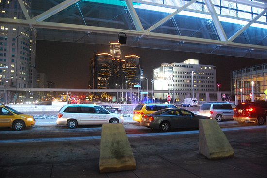 Cobo Center: Jefferson Ave entrance. Under the giant LED display.