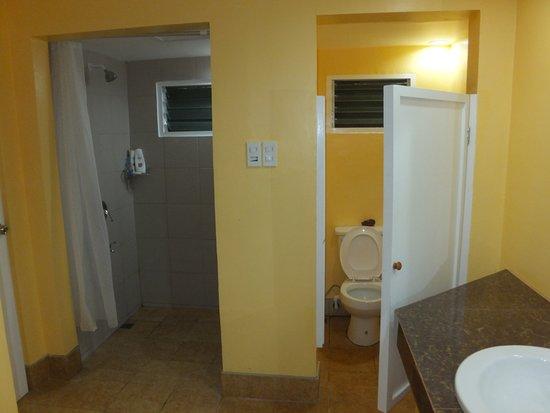 Leyte Park Resort Hotel: Shower and toilet in cottage bathroom