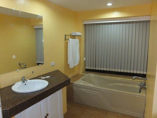 Leyte Park Resort Hotel: Bath & basin in cottage bathroom