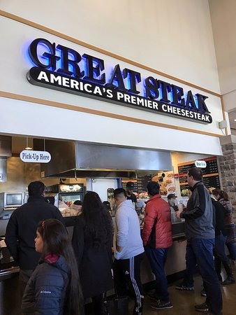 counter for the Great Steak at the Pleasant Prairie Premium Outlets food court