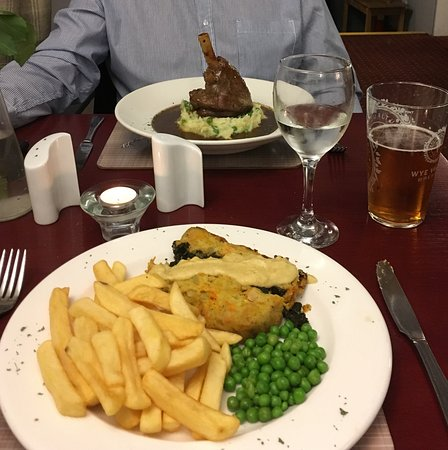 Llangybi, UK: brazil nut and spinach roast (foreground) and lamb shank