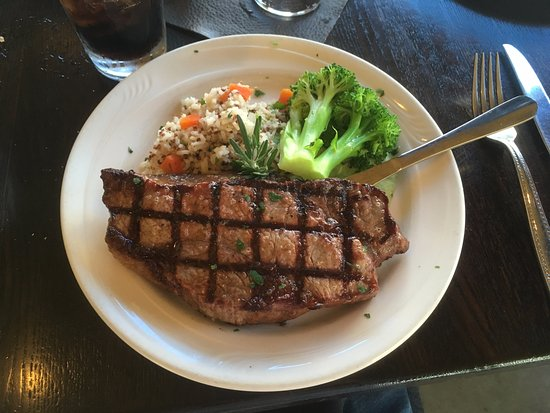 Mariposa, CA: NY steak with rice and brocolli.