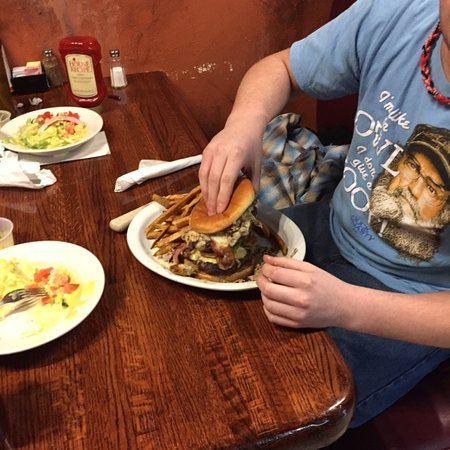 Norton, VA: This is the eatery's promotion,eat the entire burger combo in 20 minutes and you get a free T-sh