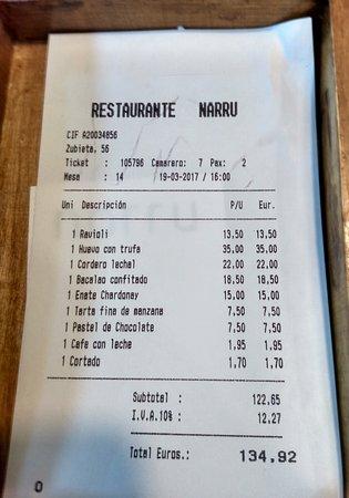 Narru Restaurante: La cuenta