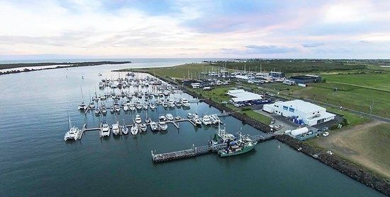 An aerial view of the Bundaberg Port Marina