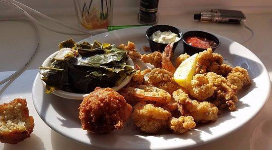 Zachry's Seafood & Steak: shrimp and oysters are good ~ Greens were cold
