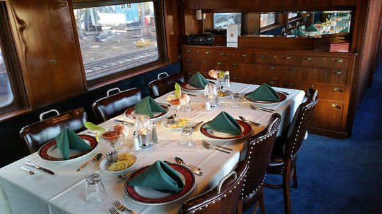 Spooner, WI: First class dinner in 1915 Business Class Car