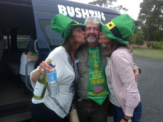 Bushtucker River & Wine Tours: Our visitors showing their appreciation (St Patrick's Day tour)