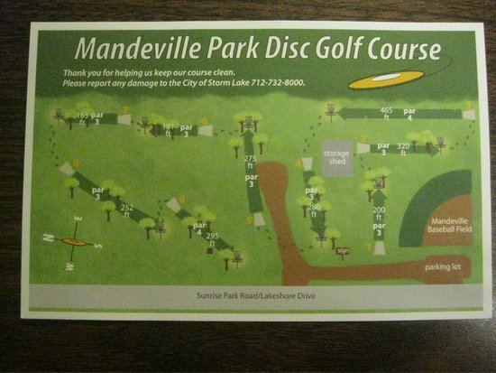 Storm Lake, IA: Disc Golf Card and map