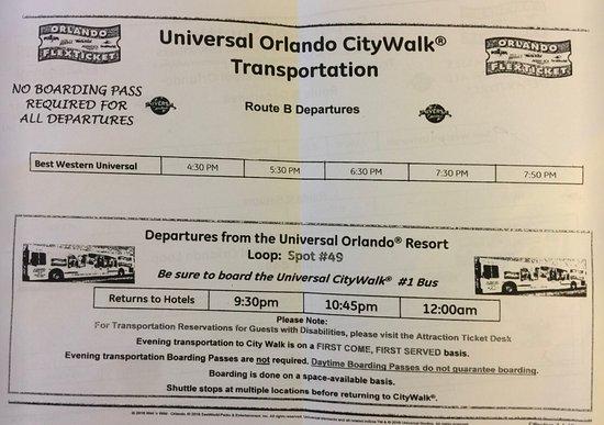 Best Western Orlando Gateway Hotel: Horários do transfer para o parque Universal (Dezembro 2016)