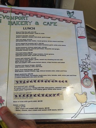 Devonport, New Zealand: Menu page