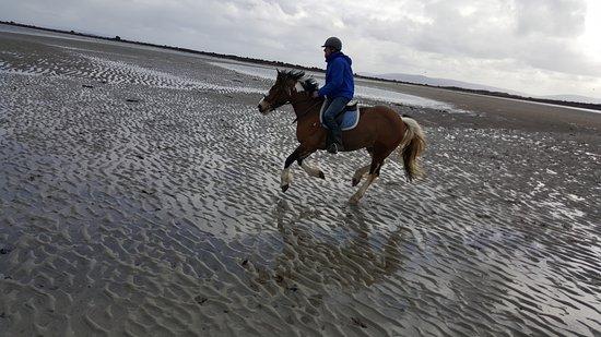Moycullen, Ireland: Ägaren och min guide Tom när vi galopperade på stranden =)