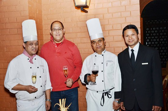 The Chimney Restaurant: Chefs and F&B Supervisor with our General Manager Mr. Philippe Belhay