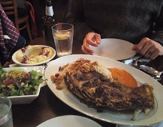 Zaytoon: Rack of lamb with aromatic rice, chilli sauce, houmous and salad