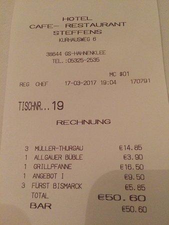 Hotel Cafe - Restaurant Steffens: Kassenbeleg
