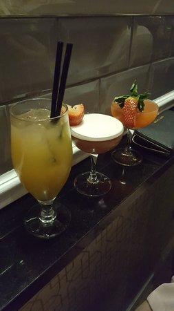 Royston, UK: Left to right - Sugar Baby, French Martini & Strawberry Daiquiri