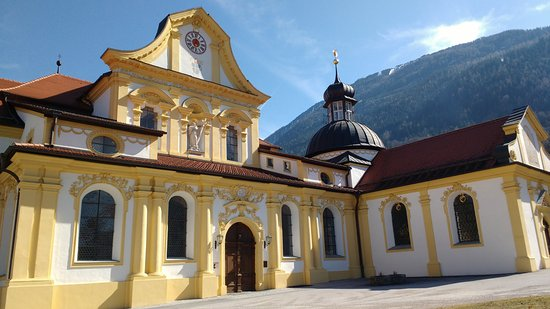 Stams, Austria: The entrance to the basilica
