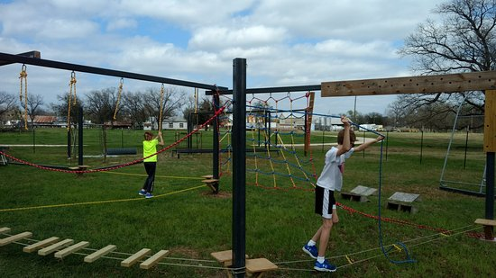 Hico, TX: Low ropes course.  More obstacles to come!