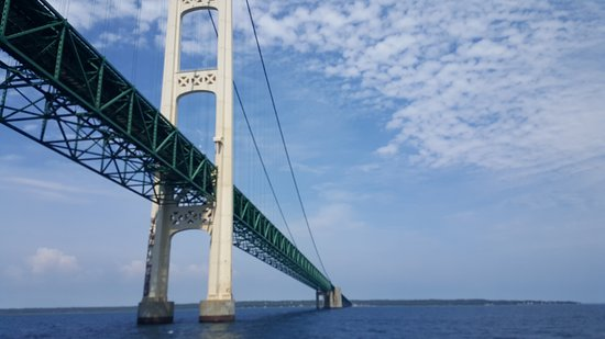 Mackinaw City, MI: Riding under the bridge