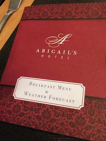 Abigail's Hotel: Breakfast menu