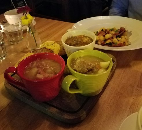 The Boxty House: A trio of Irish Stews served at Boxty in Temple Bar. Murphy's is the beer served here!