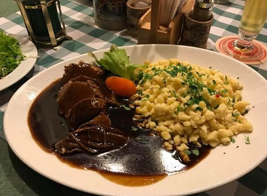 Upper Bavaria, Germany: Ochsenbraten mit Knöpfle