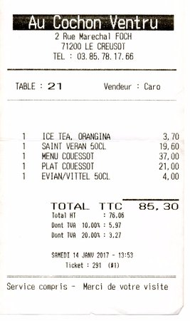 Le Creusot, فرنسا: Menu et plat chers
