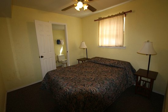 Canyon Lake, TX: The master bedroom in the Outfront Cottages come with a queen bed.