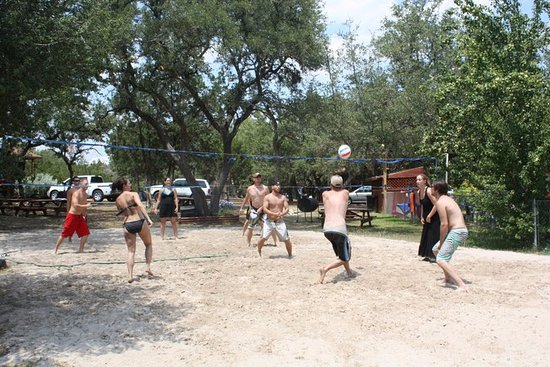 Canyon Lake, TX: The sand volleyball area is a popular spot!